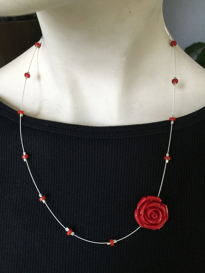 Rose on silver wire Necklace