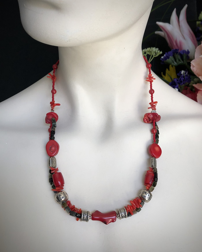 Coral Necklace w/Silver Beads