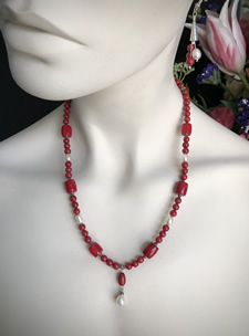 Coral, Pearl & Silver Beads