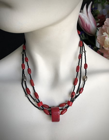 3 Strands of Black seed Beads, Coral & Silver Beads